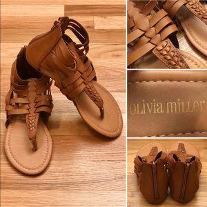 🆕 OLIVIA MILLER Cute Brown Braided Strap Sandals